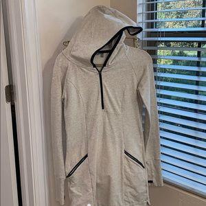Athlete hooded sweatshirt dress